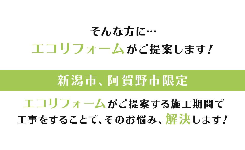 そんな方に… エコリフォームがご提案します! 新潟市、阿賀野市、新発田市限定